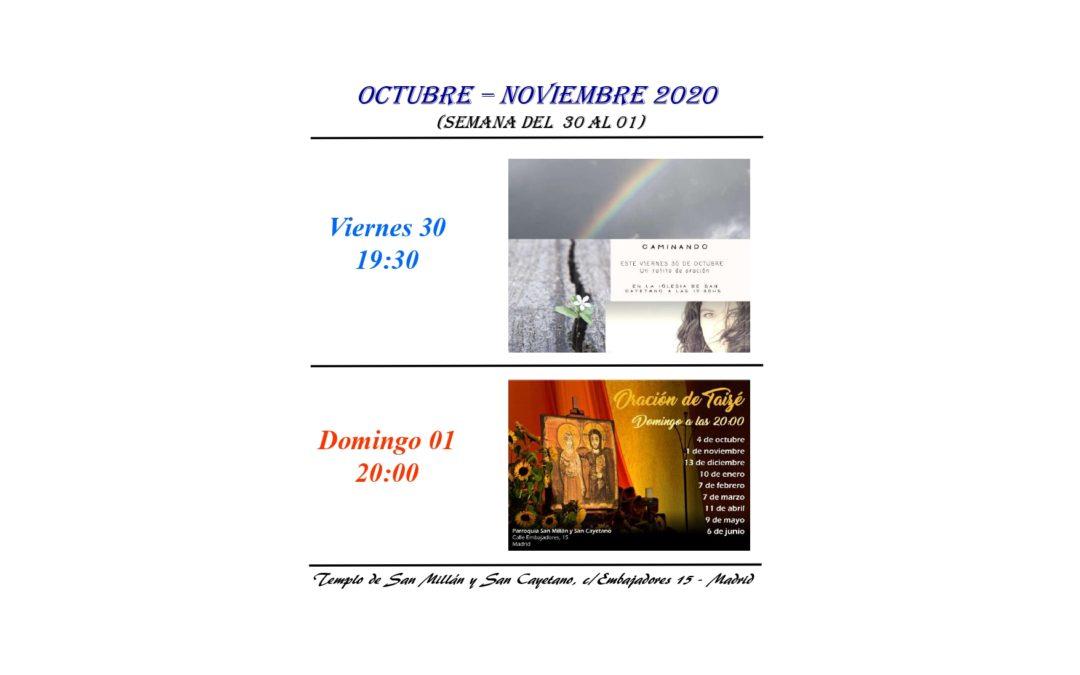 Actividades de la Parroquia del 30 octubre al 1