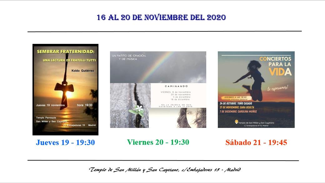 Actividades de la Parroquia del 16 al 22 de noviembre