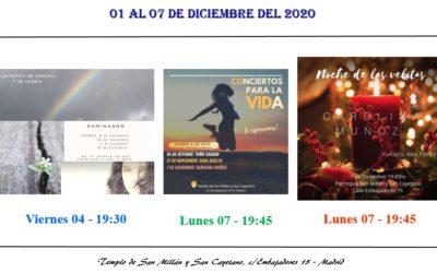 Actividades de la Parroquia del 01 al 07 de diciembre
