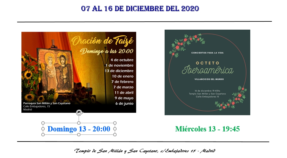 Actividades de la Parroquia del 25 al 27 de diciembre