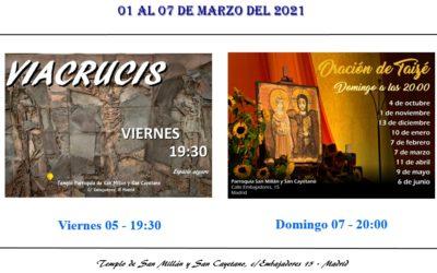 Actividades de la Parroquia del 01 al 07 de marzo