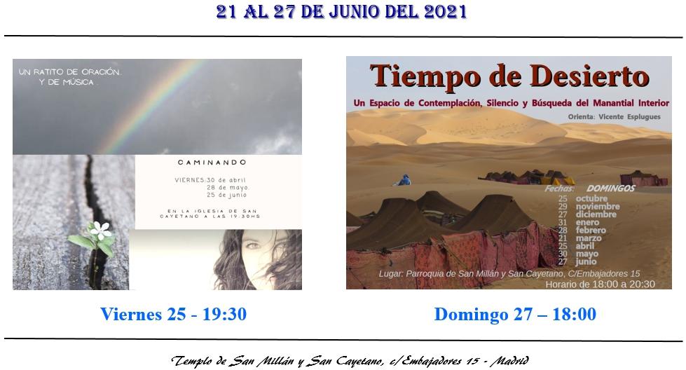Actividades parroquia del 21 al 27 de junio 2021