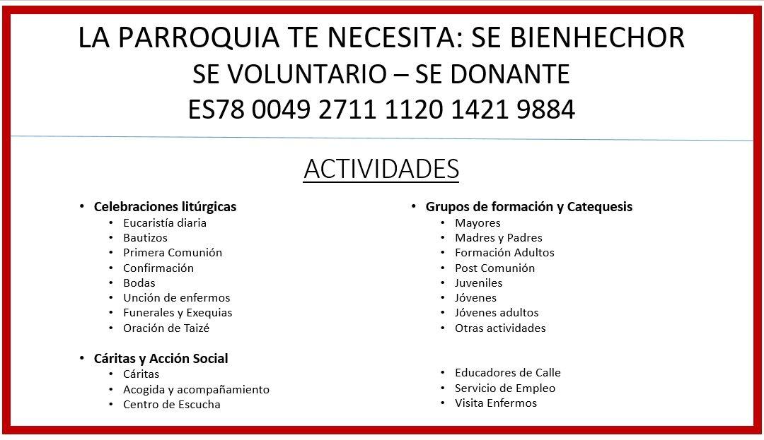 Cartel actividades de nuestra parroquia – Julio. 2021
